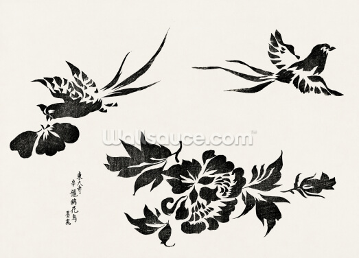 Woodblock Print of Pheasants Wallpaper Wall Murals