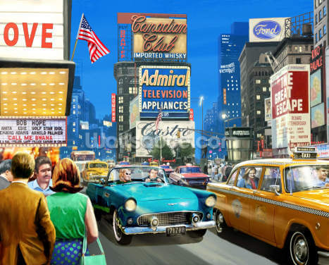 Vintage Times Square Wallpaper Wall Murals