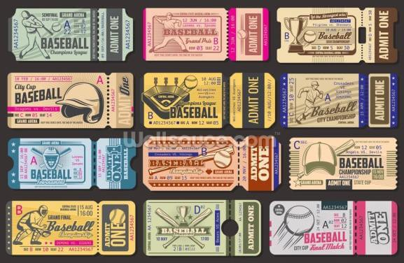Baseball Tickets Wallpaper Wall Murals