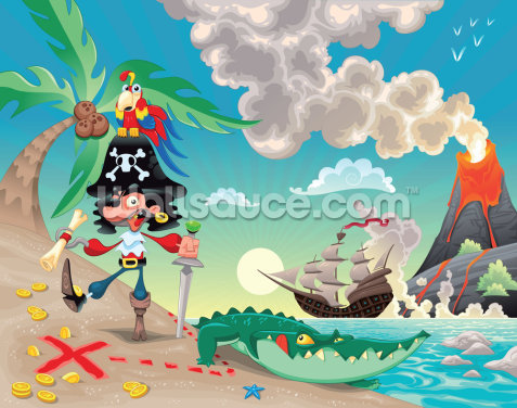 Pirate Island and Volcano Wallpaper Wall Murals