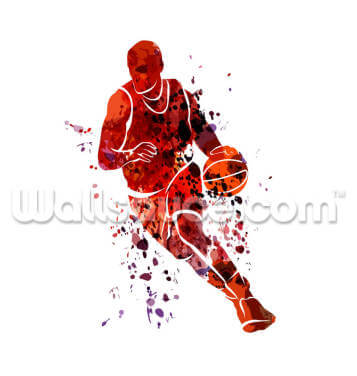 Basketball Watercolour Wallpaper Wall Murals