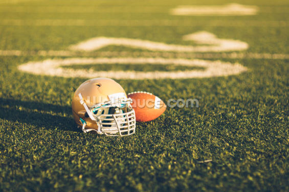Gold Football Helmet on Field Wallpaper Wall Murals