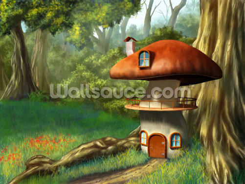 Mushroom House Wallpaper Wall Murals