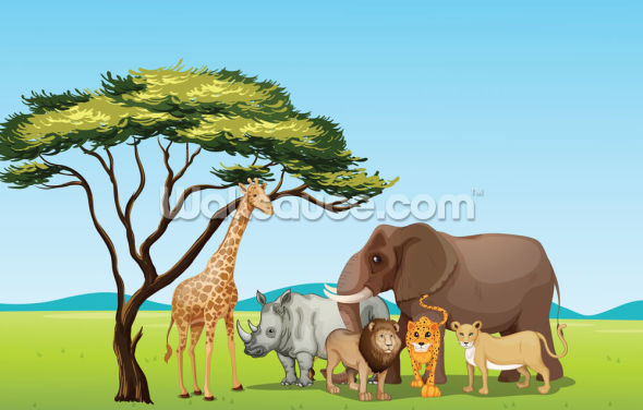African Safari Cartoon Wallpaper Wall Murals