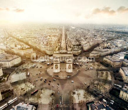 Aerial View Arc de Triomphe Wallpaper Wall Murals