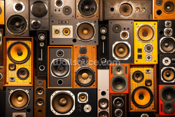 Retro Vintage Sound Speakers Wallpaper Wall Murals