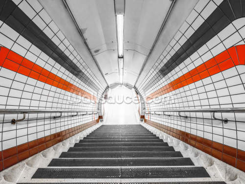 Orange and Black Tunnel Wallpaper Wall Murals