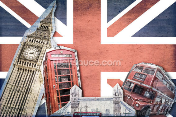 Union Jack London Collage Wallpaper Wall Murals