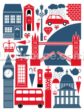 London Icons Wallpaper Wall Murals