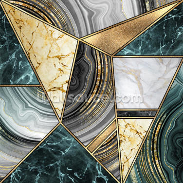 Deep Teal Marble and Gold Wallpaper Wall Murals