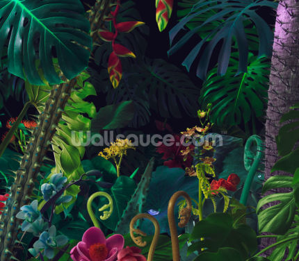 Colorful Night Jungle Wallpaper Wall Murals