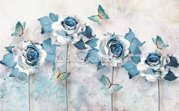 Blue Butterfly Roses Wallpaper Wall Murals