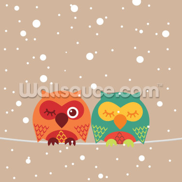 Two Owls Wallpaper Wall Murals