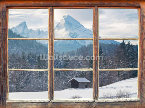 Snowy Mountain Window View Wallpaper Wall Murals