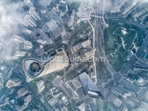 Shanghai Aerial View Wallpaper Wall Murals