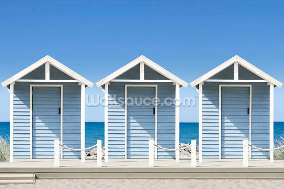 Blue Beach Huts Wallpaper Wall Murals