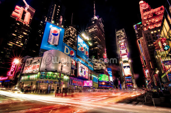 Neon Times Square Wallpaper Wall Murals