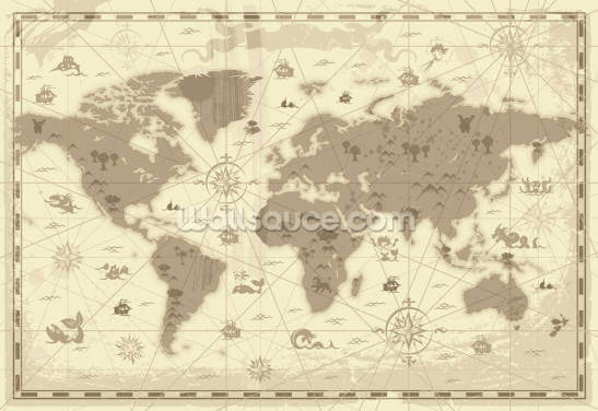 Ye Old Map Wallpaper Wall Murals