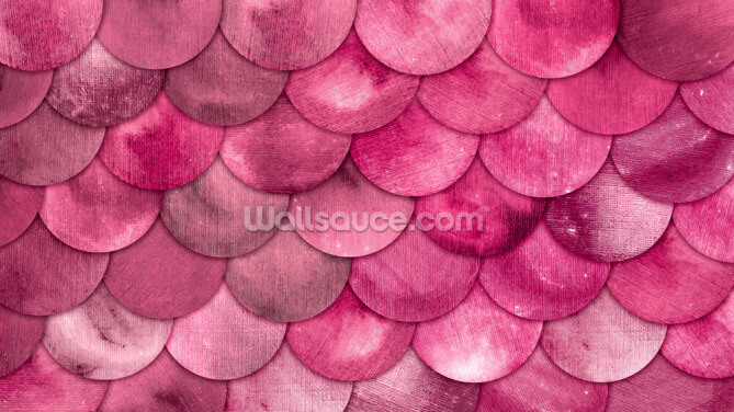 Pink Mermaid Scales Wallpaper Wall Murals