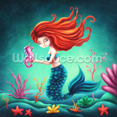 Mermaid and Seahorse Wallpaper Wall Murals