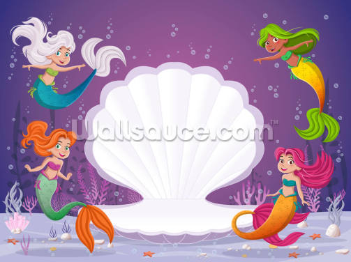 Magic Mermaid Shell Wallpaper Wall Murals