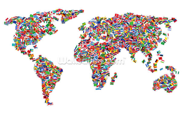 World Map of Flags Wallpaper Wall Murals