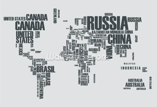 World Map Word Cloud Wallpaper Wall Murals