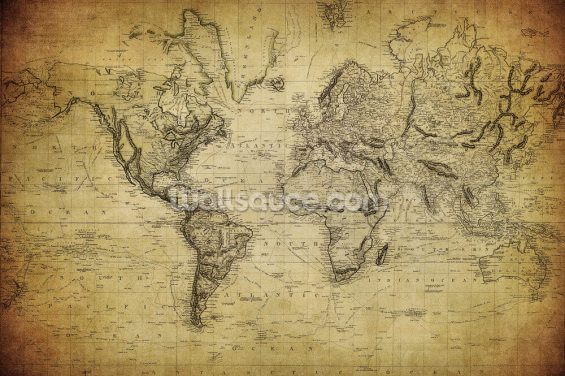 19th Century Vintage Map Wallpaper Wall Murals