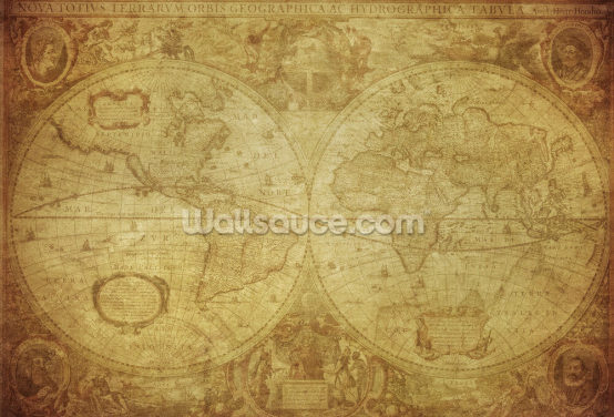 17th Century World Map Wallpaper Wall Murals
