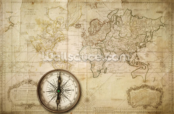 Old Map & Compass Wallpaper Wall Murals