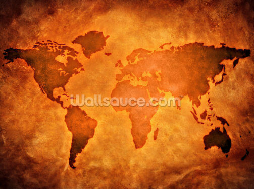 World Map on Leather Wallpaper Wall Murals