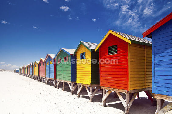 Cape Town Beach Huts Wallpaper Wall Murals