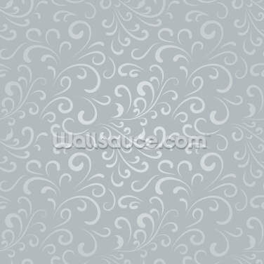 Floral Pattern - Grey Wallpaper Wall Murals