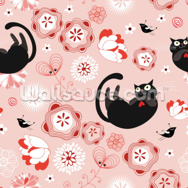 Floral - Cats and Flowers Wallpaper Wall Murals