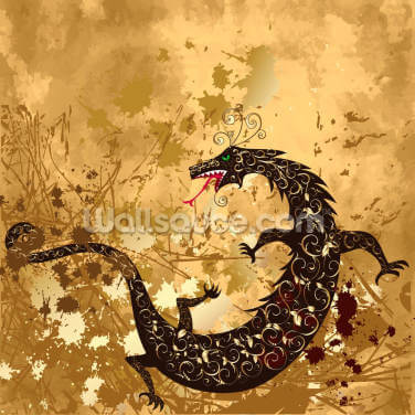 Dragon on a Background Grunge Wallpaper Wall Murals