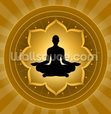 Yoga - Meditation On Lotus Background Wallpaper Wall Murals