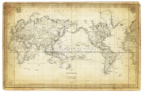 Map of the World 1820s Wallpaper Wall Murals