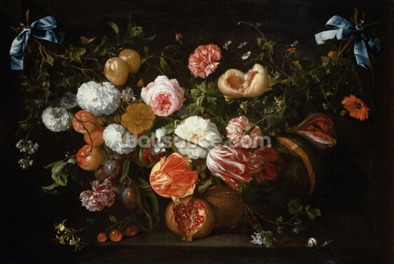 A Garland of Flowers (oil on canvas) by Jan Davidsz de Heem Wallpaper Wall Murals