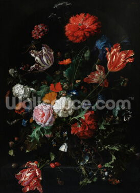 Flowers in a Glass Vase, c.1660 (oil on panel), by Jan Davidsz de Heem Wallpaper Wall Murals