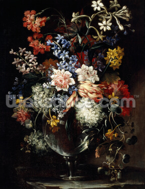 Flowers in a vase on a ledge, 17th century (oil on canvas), by Nicolas Baudesson Wallpaper Wall Murals