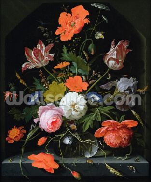 Still Life of Flowers in a Glass Vase (oil on canvas), by Abraham Mignon Wallpaper Wall Murals