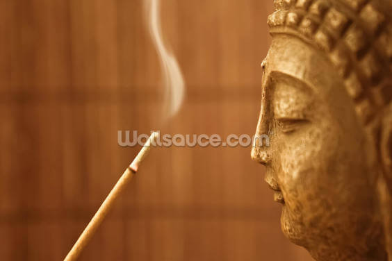 Zen Temple - Smoke Meditation with Buddha Wallpaper Wall Murals