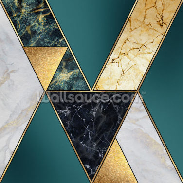 Teal and Gold Geometric Wallpaper Wall Murals