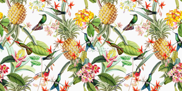 Floral Pineapple Wallpaper Wall Murals