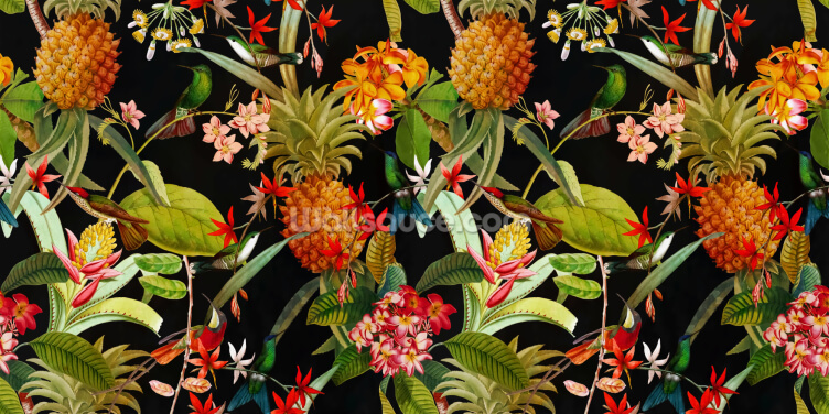 Tropical Pineapples Wallpaper Wall Murals