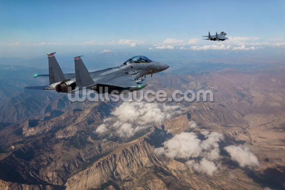 F-15 Fighter Jets Over Mountains Wallpaper Wall Murals