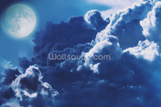 Stormy Blue Moon Clouds Wallpaper Wall Murals