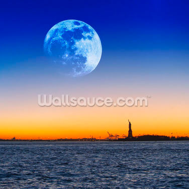 Statue of Liberty Moon Wallpaper Wall Murals