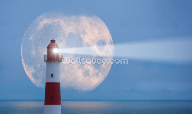 Lighthouse and Moon Wallpaper Wall Murals