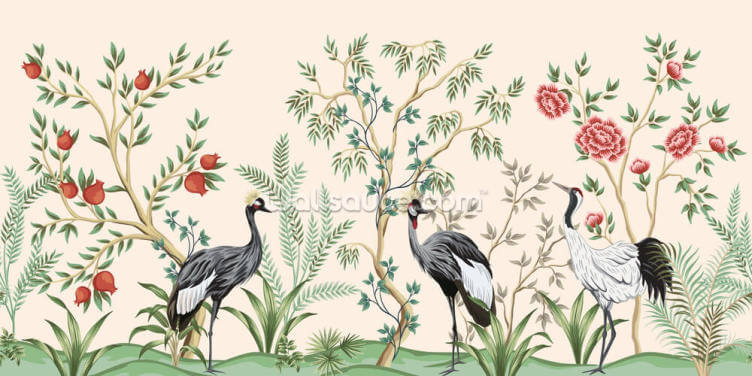 Dusty Pink Chinoiserie Wallpaper Wall Murals